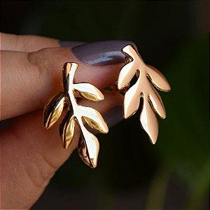 Brinco pressão folha dourado