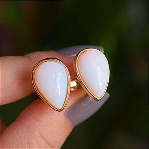 Brinco pressão gota invertida pedra natural opalina ouro semijoia