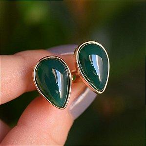 Brinco pressão gota invertida pedra natural ágata verde ouro semijoia