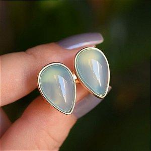 Brinco pressão gota invertida pedra natural ágata azul céu ouro semijoia