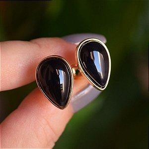 Brinco pressão gota invertida pedra natural ágata preta ouro semijoia