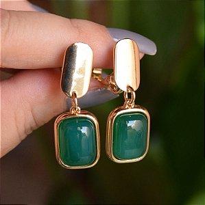 Brinco pressão pedra natural ágata verde ouro semijoia