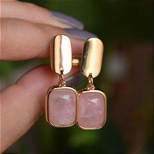 Brinco pressão pedra natural quartzo rosa ouro semijoia