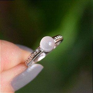 Anel pedra natural quartzo rosa ródio semijoia