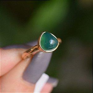 Anel pedra natural ágata verde gota ouro semijoia