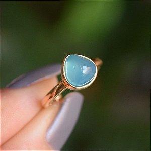 Anel pedra natural ágata azul céu gota ouro semijoia