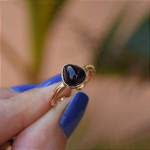 Anel pedra natural ágata preta gota ouro semijoia