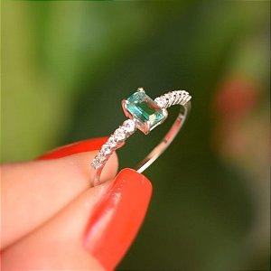 Anel prata 925 zircônia verde