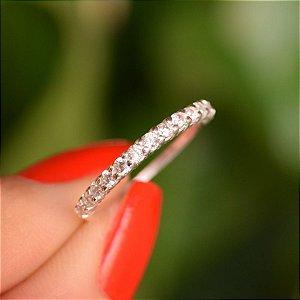 Anel meia aliança prata 925 zircônia cristal