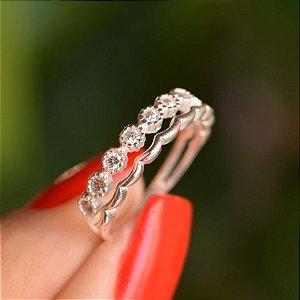 Anel duplo prata 925 zircônia cristal