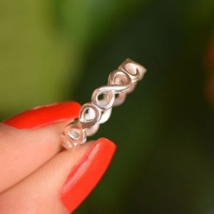 Anel prata 925 infinito vazado