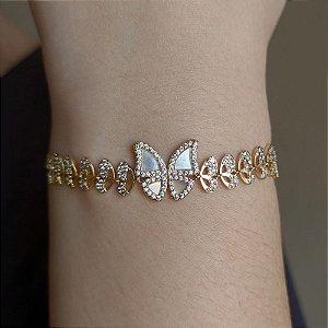 Pulseira ajustável borboleta madrepérola e zircônia ouro semijoia