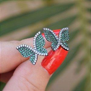 Brinco borboleta zircônia verde ródio negro semijoia 19K10039