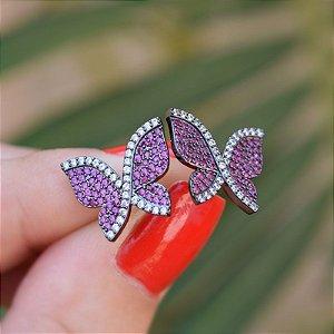 Brinco borboleta zircônia pink ródio negro semijoia 19K10039