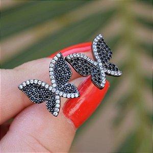 Brinco borboleta zircônia preto ródio negro semijoia 19K10039