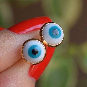 Brinco olho grego ouro semijoia