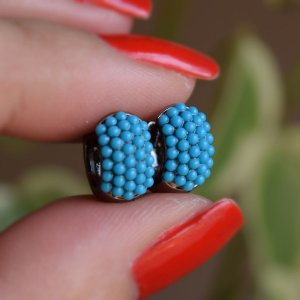 Brinco argolinha turquesa ródio negro semijoia