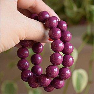 Pulseira dupla esferas acrílico uva