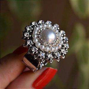 Anel ajustável Iza Perobelli pérola e cristais prateado