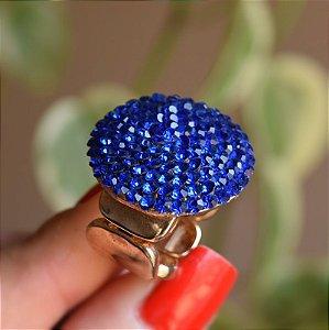 Anel ajustável Iza Perobelli cristais azul