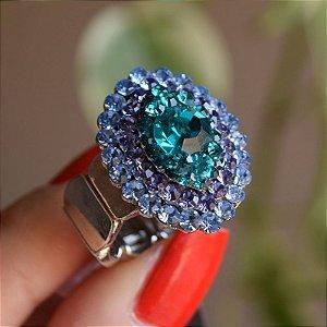 Anel ajustável Iza Perobelli cristais azul roxo e verde
