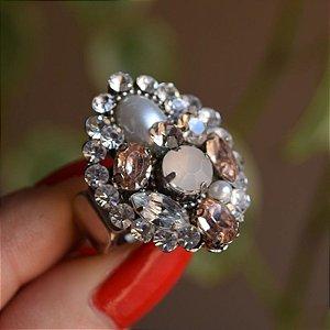 Anel ajustável Iza Perobelli cristais topázio com pérola
