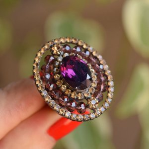 Anel ajustável Claudia Marisguia cristal topázio e roxo