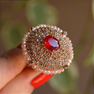 Anel ajustável Claudia Marisguia cristal topázio e vermelho