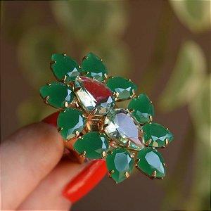 Anel ajustável Claudia Marisguia cristal verde
