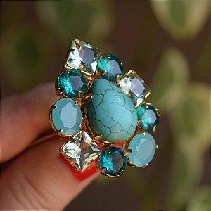 Anel ajustável Claudia Marisguia cristal turquesa