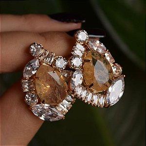 Brinco Diviníssima cristal rutilado dourado