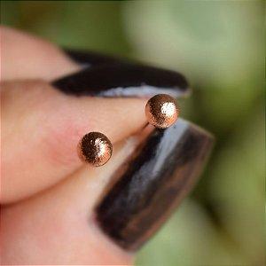 Brinco bolinha segundo furo ouro rosê semijoia