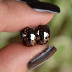 Brinco argolinha ródio negro semijoia