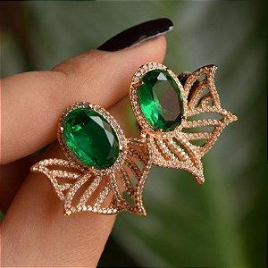 Brinco cristal verde ouro semijoia