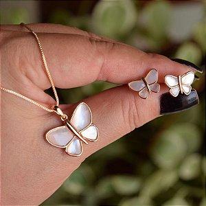 Colar e brinco borboleta madrepérola ouro semijoia 19A12067