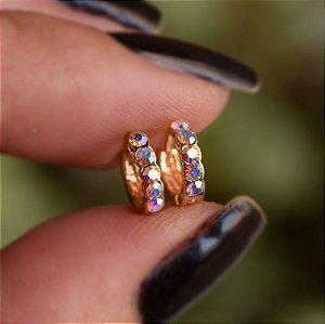 Brinco argolinha segundo furo strass boreal ouro semijoia 16K12027