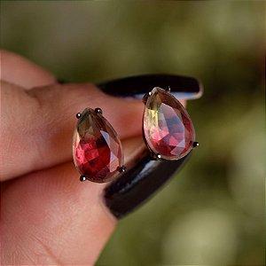 Brinco gota cristal melancia ródio negro semijoia