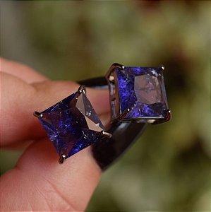 Brinco quadrado cristal roxo ródio negro semijoia