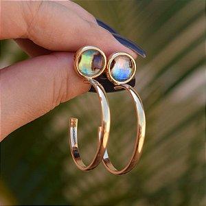 Brinco argola pedra natural abalone ouro semijoia