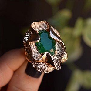Anel cristal esmeralda ouro semijoia