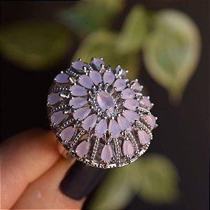 Anel oval cristal rosa leitoso ródio semijoia