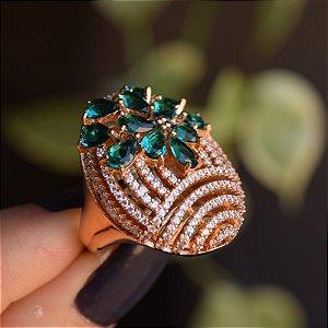 Anel oval cristal verde zircônia ouro semijoia