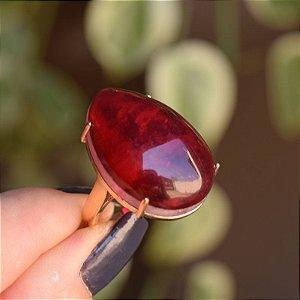 Anel gota cristal vermelho ouro semijoia