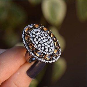 Anel oval cristal topázio zircônia ródio negro semijoia