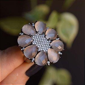 Anel oval cristal gota zircônia ródio negro semijoia