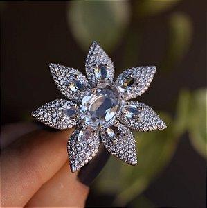 Anel Suntuoso flor cristal zircônia ródio semijoia