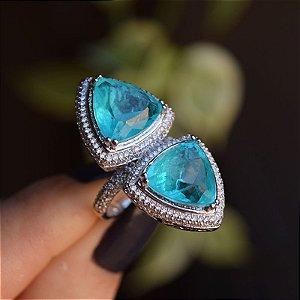 Anel cristal azul zircônia ródio semijoia