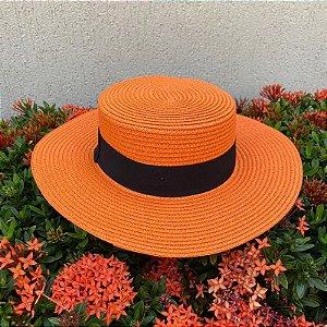 Chapéu praia palha laranja