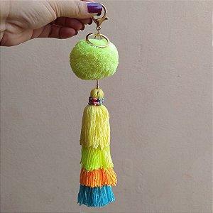 Chaveiro pompom amarelo neon tassel colorido