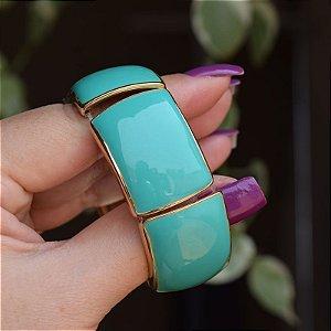 Bracelete metal esmaltado verde com dourado